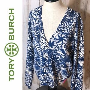 Tory Burch Large Textured Stretch Cardigan